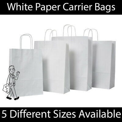 White Twist Handle Paper Party Gift Carrier Bag Boutique Bags STRONG Recyclable  • 7.49£