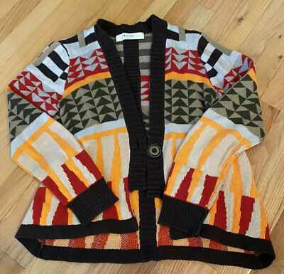 $ CDN13.39 • Buy SPARROW Aztec Tribal One Button Cardigan Sweater Anthropologie