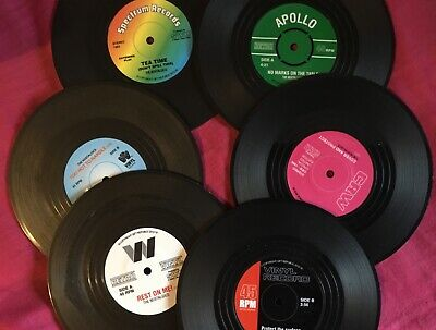 SET OF 6 Boxed Vinyl Records Coasters Place Mats Music Gift Retro New • 4.99£