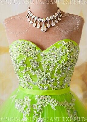 £72.39 • Buy LIME GREEN SHORT PROM HOMEOMCING Cocktail Evening Party Ball Gown Dress M 8 USA
