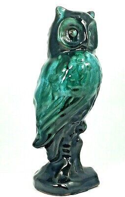 "$ CDN29.95 • Buy Blue Mountain Pottery Owl Vintage 7 3/4"" Tall Green And Brown Glazed Great Cond."