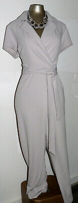 DOROTHY PERKINS Petite Silver Grey Belted Jumpsuit Size 18 EU 46 Evening Party • 12£