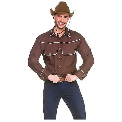 Mens Cowboy Shirt Brown Western Wild West Fancy Dress Stag Party Halloween • 16£