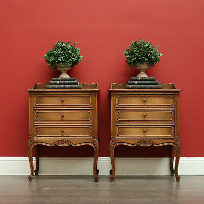 AU1295 • Buy Pair Of Antique French Oak Bedside Tables, Lamp Tables, Chest And Drawer Set