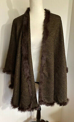 $24.99 • Buy V. Fraas Brown Shawl With Rabbit Fur Wrap Poncho Women's