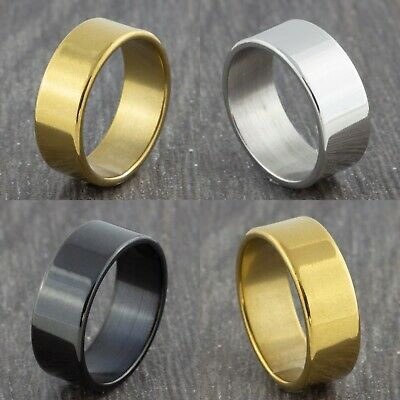 8mm Stainless Steel Gold Silver Black Wedding Band - Mens & Womens Ring - L To Y • 4.99£