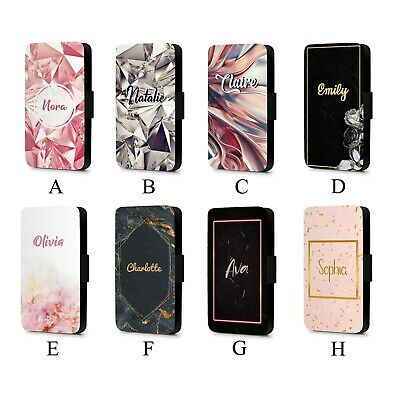 Personalised Initial Name Marble Floral Cute Faux Leather Flip Phone Case Cover • 10.49£
