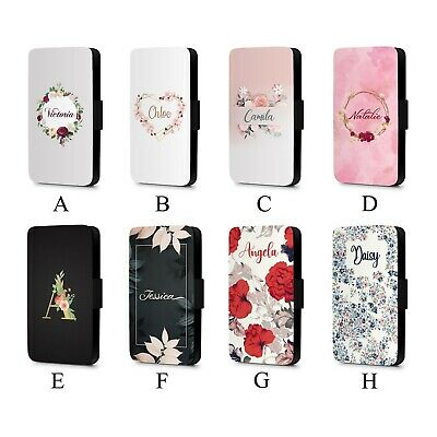 Personalised Initial Name Floral Pattern Cute Faux Leather Flip Phone Case Cover • 8.49£