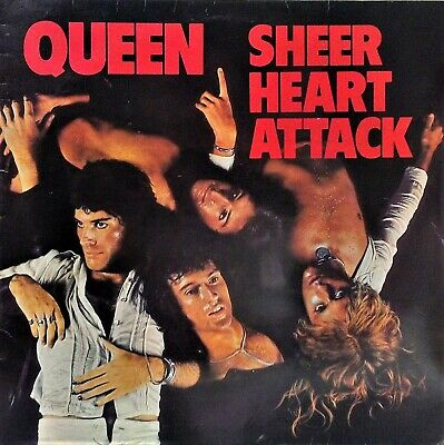 QUEEN~SHEER HEART ATTACK~EMC 3061~2nd PRESS~1st ROUNDED INNER~UK VINYL LP~EX • 30£
