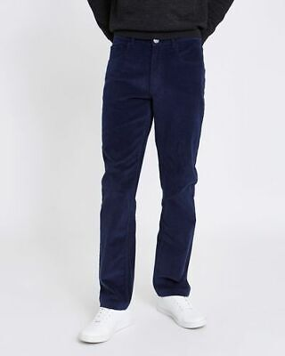 Dunnes Navy Blue Straight Fit Stretch Washed Cord Trousers Casual Jeans W34 L32 • 12£