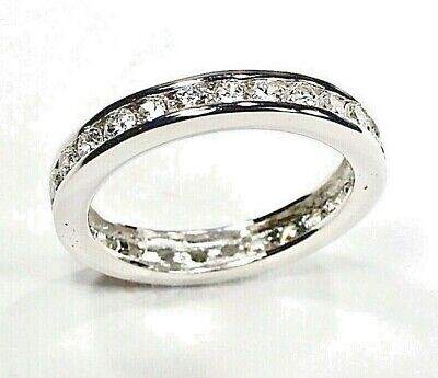 £21.78 • Buy 925 Sterling Silver CZ Eternity Band Channel Set Wedding Ring Cubic Zirconia