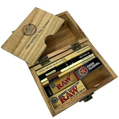 RAW Wooden Deluxe Rolling Storage Box Gift Set Classic Smoking Papers  • 17.99£