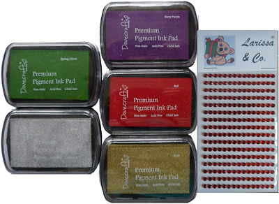 Set Of 5 PIGMENT INK PADS Rubber Stamping Traditional CHRISTMAS Colours Plus Lar • 12.67£