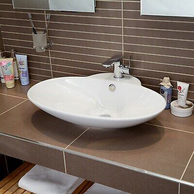 Oval Countertop Basin One Central Tap Hole White Ceramic Bathroom Sink • 29.97£