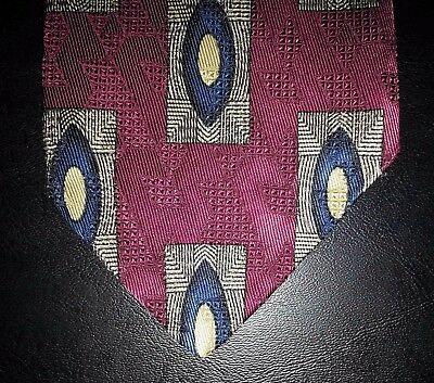 $19.95 • Buy Talbott Studio Nordstrom Tie Silk Geometric Fuschia Tan Blue Black NIB T3260