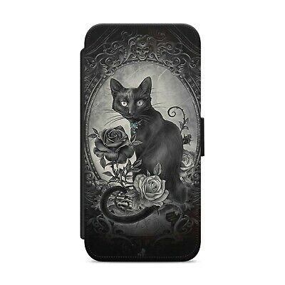 £8.99 • Buy Black Cat Gothic Roses WALLET FLIP PHONE CASE COVER FOR IPhone Samsung      Z105