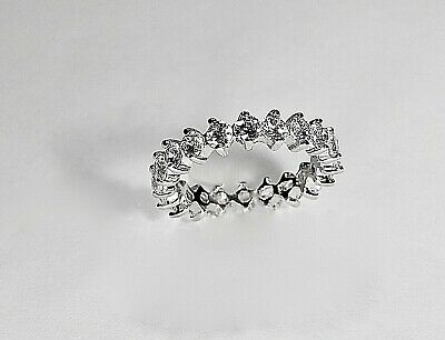 £21.78 • Buy 925 Sterling Silver CZ Eternity Band Prong Set Wedding Ring 4mm Cubic Zirconia