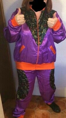 Smiffys Unisex Shell Suit Fancy Dress Size XL /80's/stag/hen Party With Wig • 5£