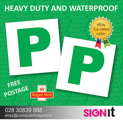 2x New Driver P Plate Stickers Safety Car Learner Just Passed Vinyl Signs • 1.44£