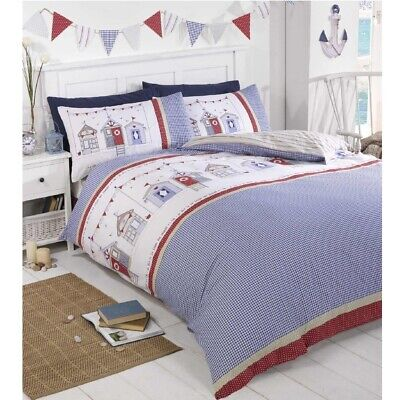 Seaside Beach Hut Nautical Single Duvet Quilt Cover Pillowcase Bedding Set Blue • 11.25£