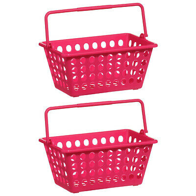 Set Of 2 Storage Basket Durable Plastic Hot Pink Colourful Organiser With Handle • 5.95£