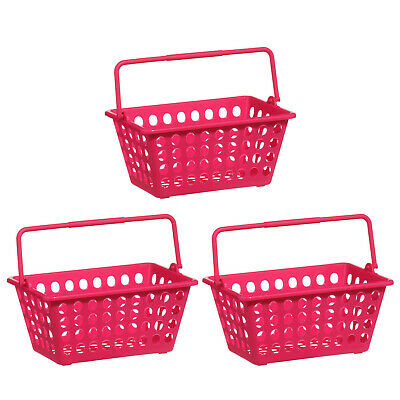Set Of 3 Storage Basket Durable Plastic Hot Pink Colourful Organiser With Handle • 7.50£