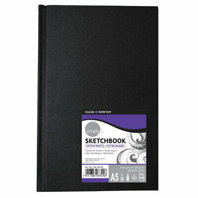 Daler Rowney Simply Hardboard Sketch Book A5 Extra White • 10.29£