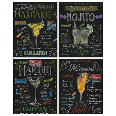 $59.96 • Buy Cocktail Drink Recipes Chalkboard Style Wall Decal Set Vintage Style Bundle