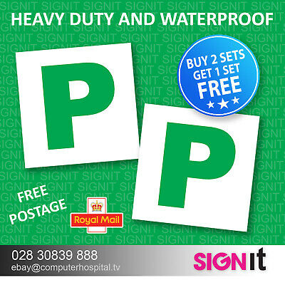 2x New Driver P Plate Stickers Safety Car Learner Just Passed Vinyl Signs • 1.45£