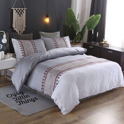 AU39 • Buy All Size Bed Ultra Soft Quilt Duvet Doona Cover Set Bedding Bohemian Grey