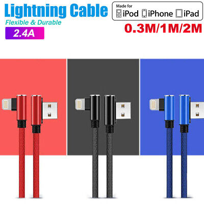 AU7.95 • Buy 90 Degree Right Angle USB Charger Lightning Cable Apple IPhone IPod IPad