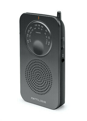 Portable Muse Pocket Radio - 2 Band FM/MW Black - Battery Operated • 8.99£