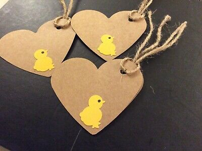 10 Easter  kraft Heart Gift Tags With Chick  design • 1.20£