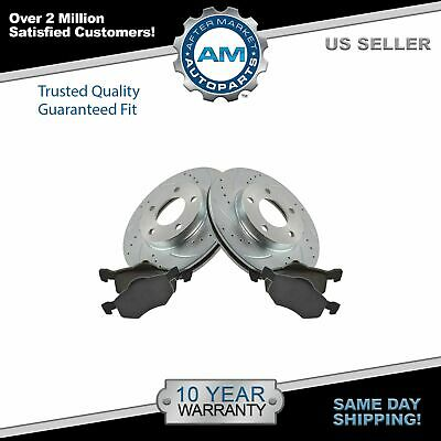 $66 • Buy Brake Rotor Drilled Slotted Zinc Coated Ceramic Pad Front Set For Ford