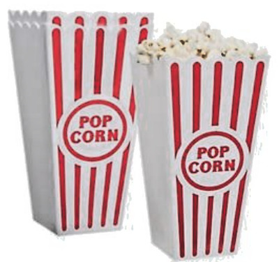 3 Reusable Novelty Plastic Popcorn Boxes Tub Carton Container Movie Party Treat • 7.46£