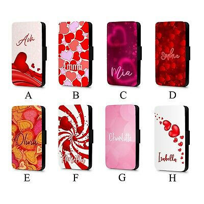 Personalised Name Couples Red Heart Cute Love Faux Leather Flip Phone Case Cover • 11.99£