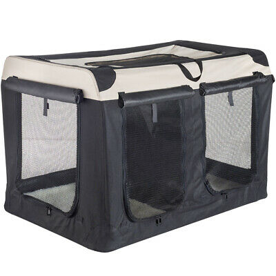 £69.99 • Buy Double Dog Or Cat House Pet Carrier Crate With Partition, Black/Beige, 102 Cm