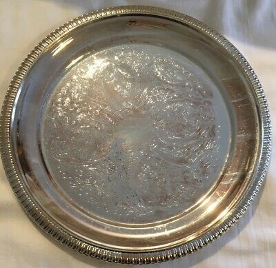 £11.99 • Buy Vintage Chased Silver-Plated Round Tray Salver 21cm - Cavalier Used Display Only