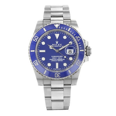 $ CDN37215.78 • Buy Rolex Submariner Blue On Blue 18K White Gold Automatic Mens Watch 116619