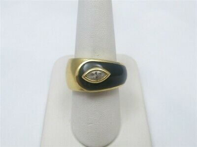 $595 • Buy 18K Yellow Gold ~3/8CDTW Marquise Diamond Black Onyx Underpass Ring Size 7.75