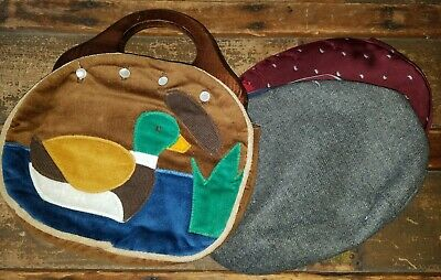 $27 • Buy NWT Wooden Handle Bermuda-Style Hand Bag With 2 Extra Covers In A Duck Pattern