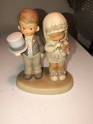 Enesco 1988 Mabel Lucie Attwell Figurine 520896 Here Comes The Bride & Groom  • 14£