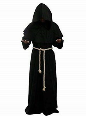 Medieval Reenactment Hood & Tunic Black Color Middle Ages Clothing Nice Look • 65.20£