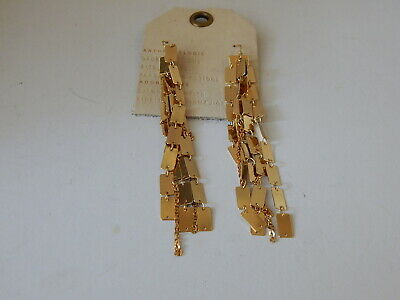 $ CDN33.29 • Buy Earrings Anthropologie Dangle Hanging Layers Rectangle Gold Plate New Tag $58