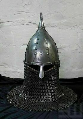 14GA Steel Early Medieval Norman Viking Turcik Helmet With Chainmail D • 369£