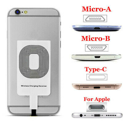 $ CDN3.46 • Buy Ultra Thin Qi Wireless Charger Adapter Receiver Fr IPhone Samsung Andriod Type-C