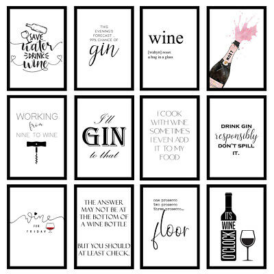 £5.95 • Buy Funny Kitchen Home Wine Gin Alcohol Quote Art Prints Wall Art Unframed Posters