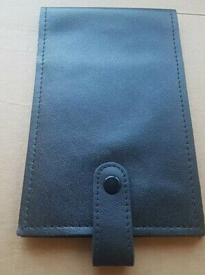 Black Real Leather Card Passport ID Golf Score Card Note Pad Wallet Holder • 2.79£