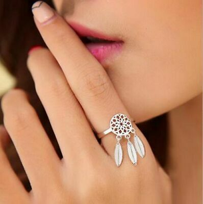 £5.01 • Buy Womens Beautiful 925 Sterling Silver Dreamcatcher Feather Charms Adjustable Ring