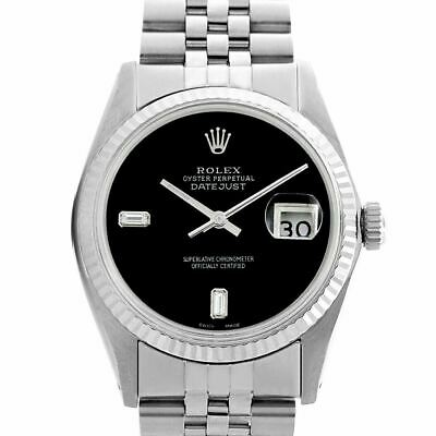 $ CDN5912.78 • Buy Men's Rolex Datejust 36mm Stainless Steel Watch Black Diamond Dial Fluted Bezel